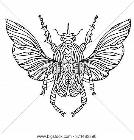 Vector Coloring Beetle With Beautiful Wings With Small Patterns. Coloring Book Black And White Zenta