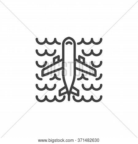 Airplane Flying Over The Ocean Line Icon. Linear Style Sign For Mobile Concept And Web Design. Plane