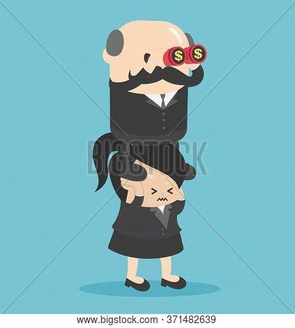 Elderly Businessmen Taking Advantage Of Businesswoman For Profit, Exploitation