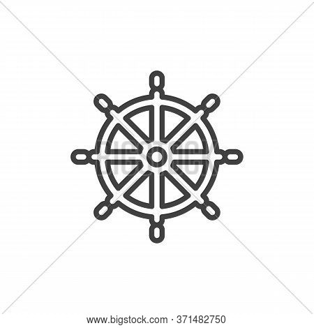 Ship Steering Wheel Line Icon. Linear Style Sign For Mobile Concept And Web Design. Boat Steering Ou