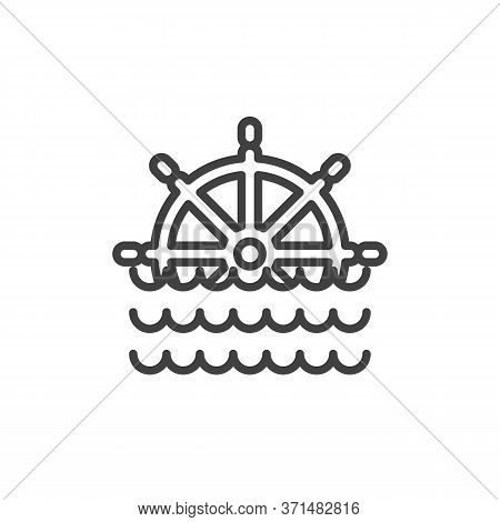 Ship Steering Wheel And Sea Waves Line Icon. Linear Style Sign For Mobile Concept And Web Design. Ma