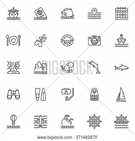 Cruise Travel Line Icons Set. Marine Linear Style Symbols Collection, Outline Signs Pack. Vector Gra