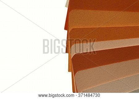 Blurry Horizontal Image Of Sample Colors Catalogue Isolated On White Background. Abstract Colorful T