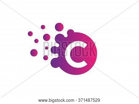 Creative  C Letter Design Vector  For Title, Header, Lettering, Logo. Technology Areas Typeface. Col