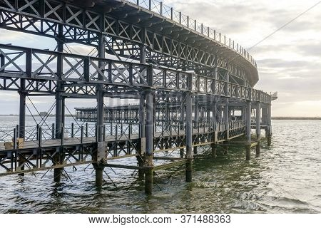 Historic Rio Tinto Pier By Sunset In Huelva, Andalusia, Spain