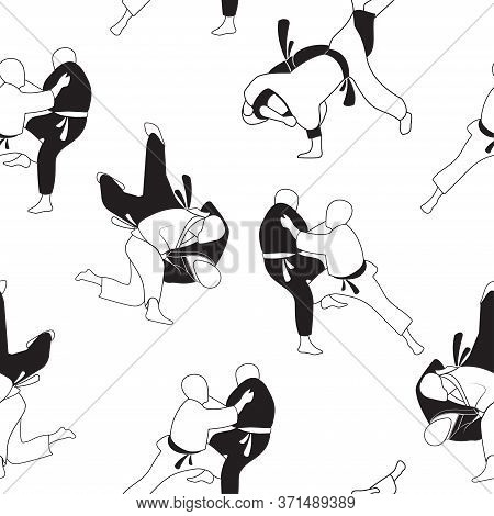 Black And White, Seamless Pattern With The Image Of Judo Techniques. Martial Arts Exercises. Stock V