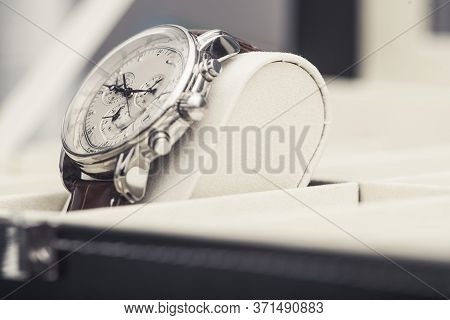 Pre Owned Luxury Hand Watch On Display. Stylish Timepiece Close Up.