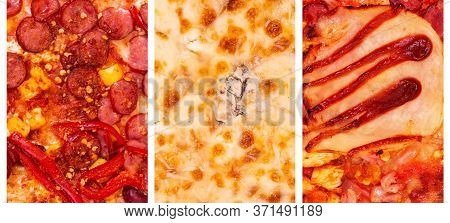 Collage Of Three Kinds Best Italian Pizzas. Pizza Mexico, Quattro Formaggi And Bbq. Food Banner, Piz