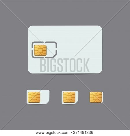 Sim Card. Plastic Card Of Cellular Connection Mock Up. Chip Of Sim Card, Micro And Nano Sim