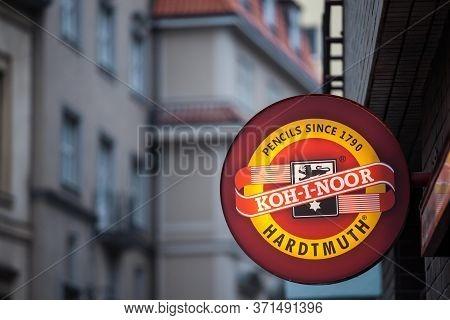 Prague, Czechia - November 3, 2019: Koh I Noor Hardtmuth Logo On Their Store In Prague. Koh-i-noor I