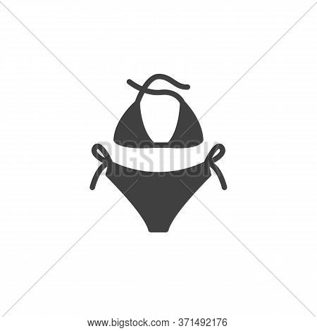 Bikini Swimsuit Vector Icon. Filled Flat Sign For Mobile Concept And Web Design. Woman Swimsuit Glyp