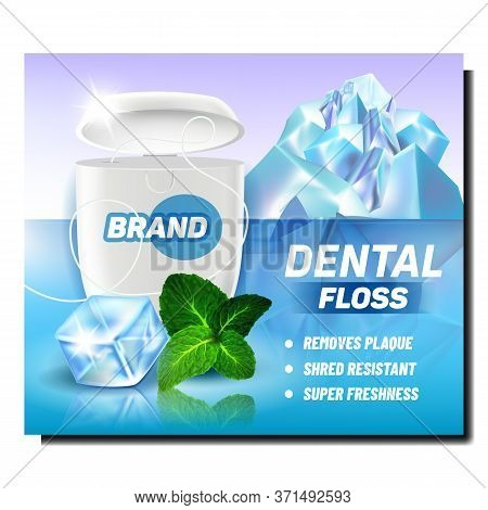 Dental Floss Blank Package Promo Poster Vector. Floss For Brush Teeth And Herbal Mint Leaves, Ice Cu