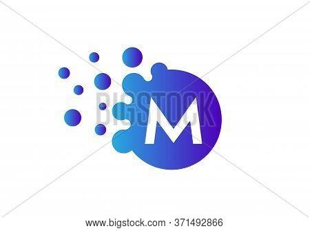 Letter M Bubbles Logo Template. Vector Brand Name Design. Dots Letter M Logo. M Letter Design Vector
