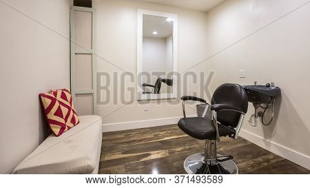Panorama Hairdresser Chair And Backwash Shampoo Bowl Inside Salon With Bench And Mirror