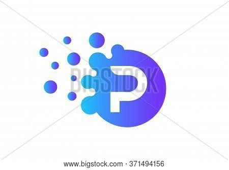 Letter P Bubbles Logo Template. Vector Brand Name Design. Dots Letter P Logo. P Letter Design Vector