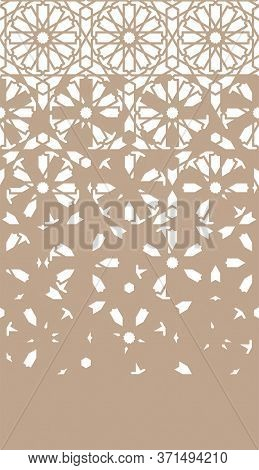 Arabian Disintegration Repeating Border. Arabian Monochrome Border Pattern.