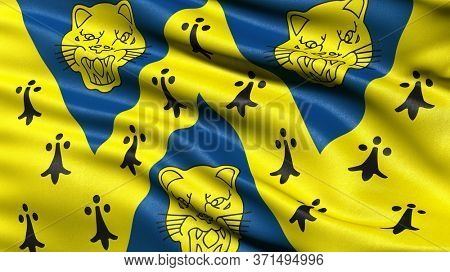 Flag of Shropshire waving in the wind. 3D illustration.