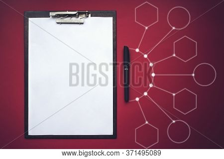 Clipboard With Clipping Path, Pen And Virtual Gologram. Mock Up Template. Concept Of New Opportuniti