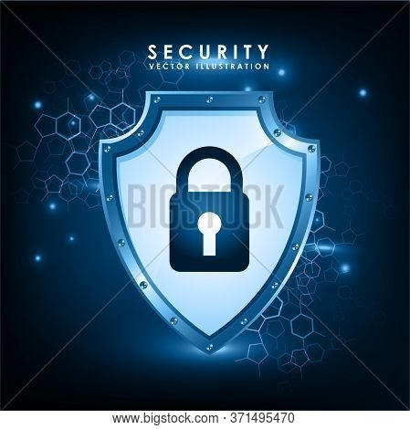 Cyber Security Concept: Shield With Keyhole Icon On Digital Data Background. Illustrates Cyber Data