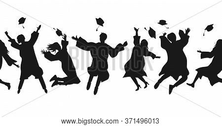 Seamless Border With Graduate Students In Graduation Clothing Jumping And Throwing The Mortarboard H