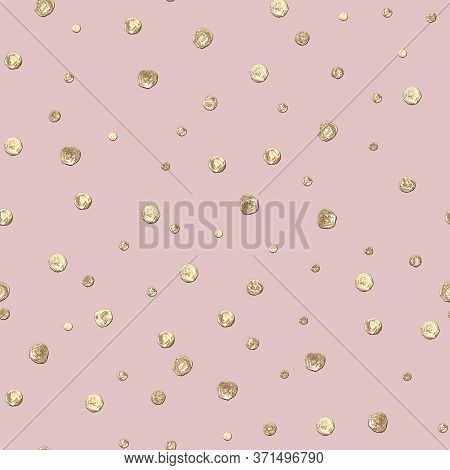 Abstract Seamless Pattern With 3d Golden Glittering Acrylic Paint Round Circles Polka Dot On Pastel