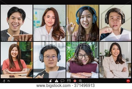 Asian Business People Meeting And Voting With Teamwork Colleague In Video Call Conference Screen Whe