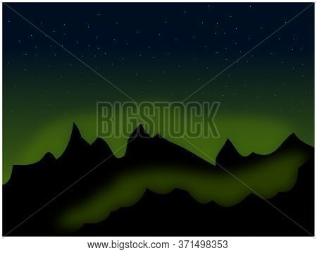 Peaceful Night Scene View Of Silhouette Mountains With Glowing Green Over Sky With Stars Background