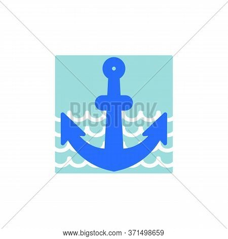 Boat Anchor Flat Icon, Vector Sign, Anchor Colorful Pictogram Isolated On White. Symbol, Logo Illust