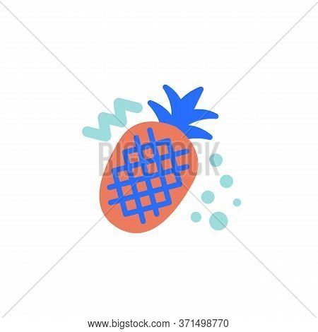 Pineapple With Leaves Flat Icon, Vector Sign, Pineapple Fruit Colorful Pictogram Isolated On White.