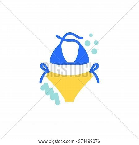 Woman Swimsuit Flat Icon, Vector Sign, Bikini Swimsuit Colorful Pictogram Isolated On White. Symbol,