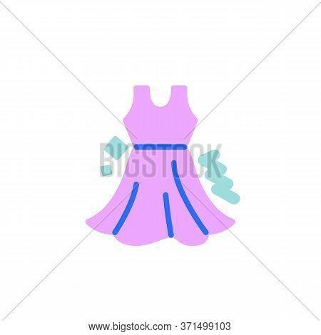 Sundress Flat Icon, Vector Sign, Sleeveless Dress Colorful Pictogram Isolated On White. Symbol, Logo