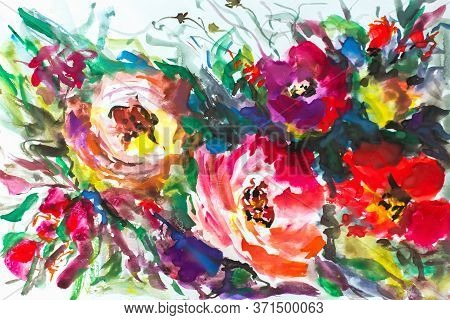 Abstract Flowers Pattern. Watercolor. Painting Painting Impressionism. Texture Painting. Abstract Fl