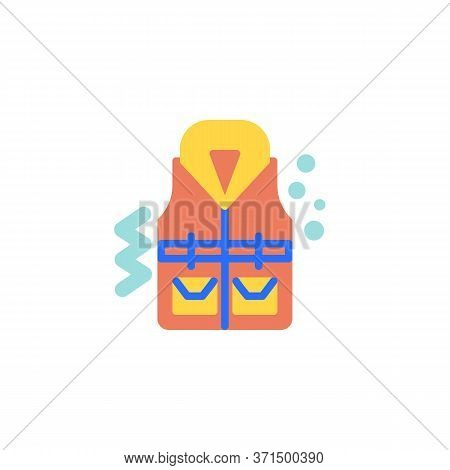 Life Vest Flat Icon, Vector Sign, Life Jacket Colorful Pictogram Isolated On White. Symbol, Logo Ill