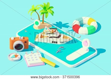 Vector Isometric Modern Motor Yacht In Blue Water On The Smartphone Screen. Yacht Booking App. Boat