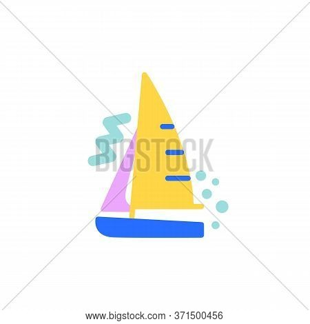 Sailboat Flat Icon, Vector Sign, Yacht, Sailboat Colorful Pictogram Isolated On White. Symbol, Logo