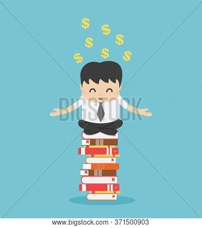 Businessman Who Is Concentrating On Reading And He Is Concentrating To Think Of His Extra Income