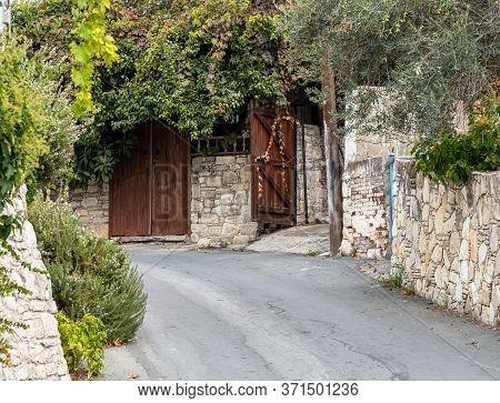 Narrow Street In Tourist Ancient Village Of Lania, Cyprus