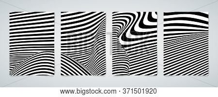 Abstract Op Art Of Distortion Line Pattern Wavy Brochure Poster Set. Use For Cover, Copy Space Of Te