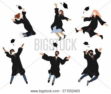 Vector Set With Happy Graduate Students In Graduation Clothing. Grads, Jumping And Throwing The Mort