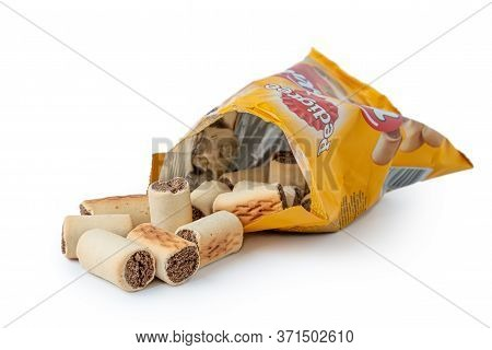 Latvia, Riga, June 12, 2020: Latvia, Riga, June 12, 2020: Pedigree Markies  Dog Snack Pak