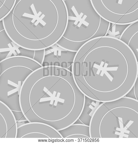 Chinese Yuan Silver Coins Seamless Pattern. Curious Scattered Black And White Cny Coins. Success Con