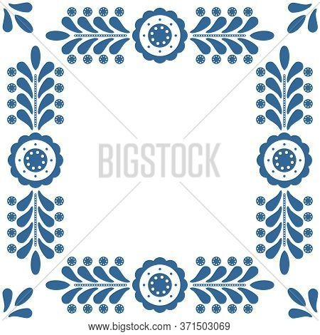 Polish Folk Vector Frame Isolated On White Background With Traditional Blue Floral Ornament