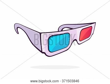 Paper 3d Glasses Isometric View. Stereo Retro Glasses For Three-dimensional Cinema. Symbol Of The Fi