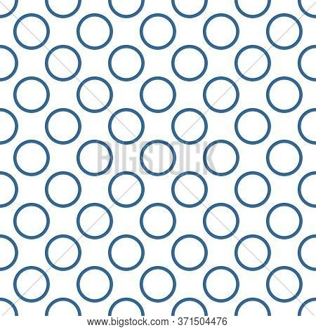 Seamless Vector Pattern With Sailor Navy Blue Polka Dots Isolated On White Background