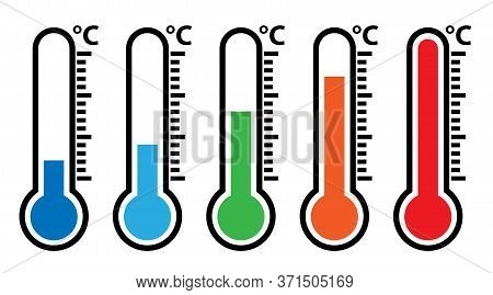Outdoor Weather Thermometer Icon Set, Different Temperatures From Freezing Cold To Hot Vector Illust