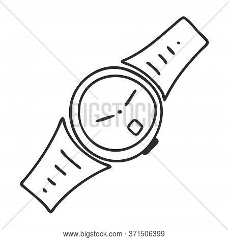 A Doodle-style Wristwatch. A Symbol Of Time, Haste, And Status. Hand Drawn And Isolated On A White B