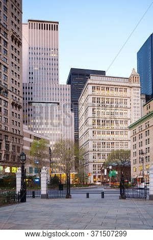 Downtown Buildings From City Hall Park, Tribeca, Manhattan, New York City, United States