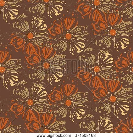 Loose Floral Textural Seamless Vector Pattern In Warm Brown Tones. Decorative Feminine Surface Print