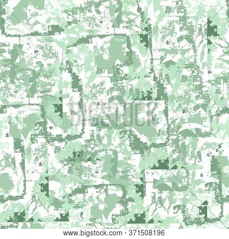 Abstract Green Seamless Pattern. Endless Noisy Wall Texture. Grainy Chaotic Elements For Fabric, Til