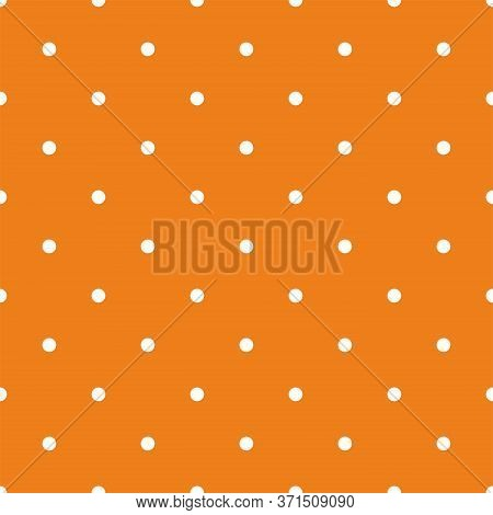 Tile Vector Pattern With Small White Polka Dots On Orange Background